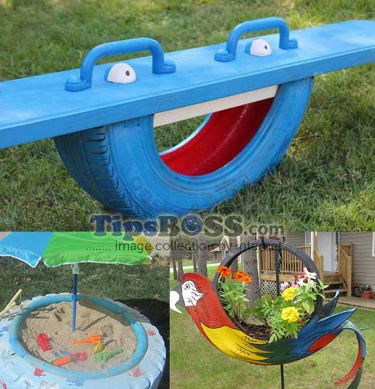 How to make a kids totter with used car tires