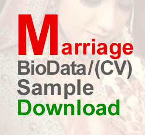 Marriage Bride Cv Biodata Resume Sample Matrimonial Resume