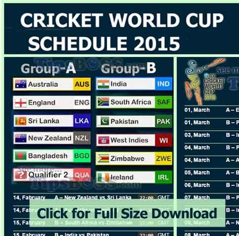 Match Schedule Of World Cup 2015 Pdf